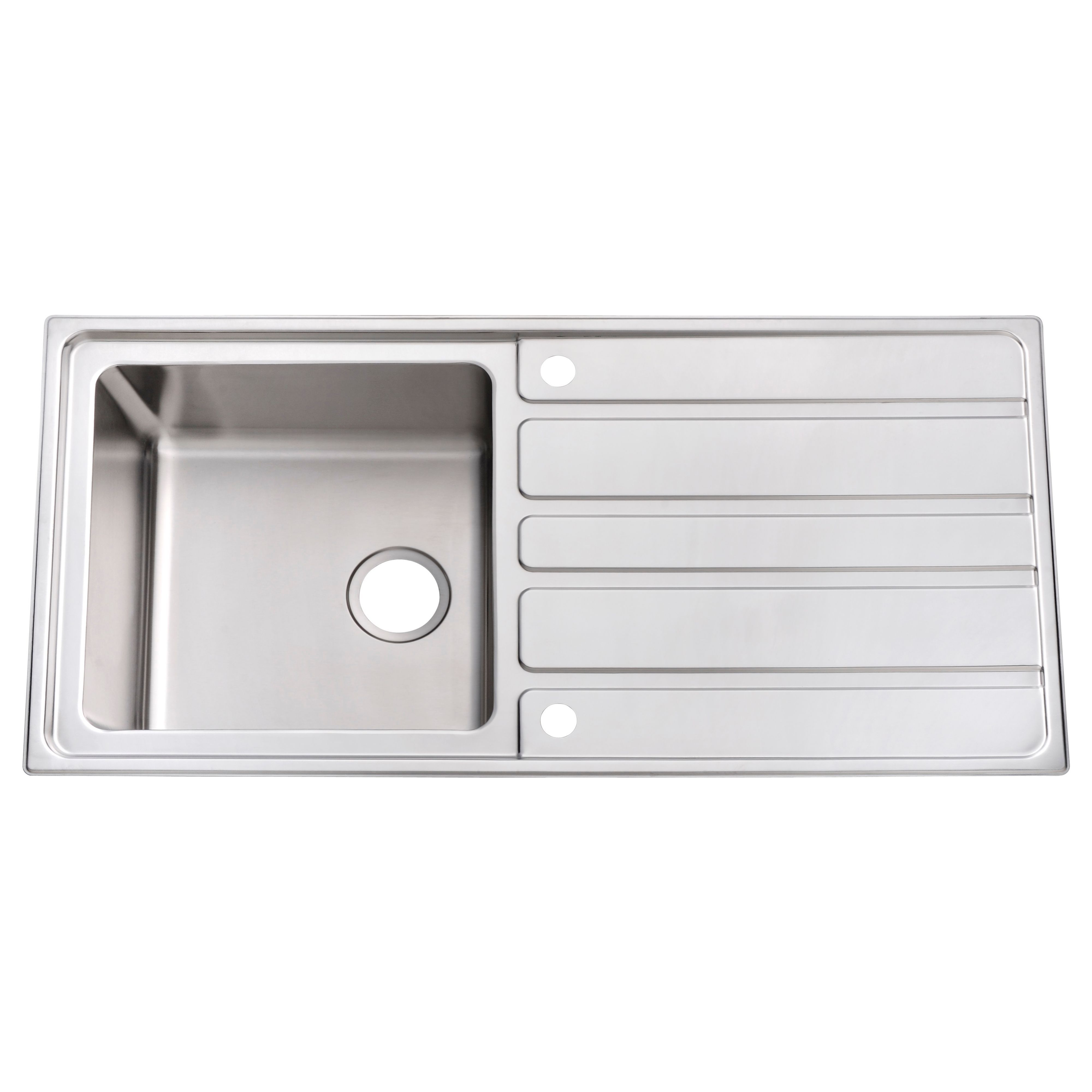 cooke & lewis lunda 1 bowl satin stainless steel sink with