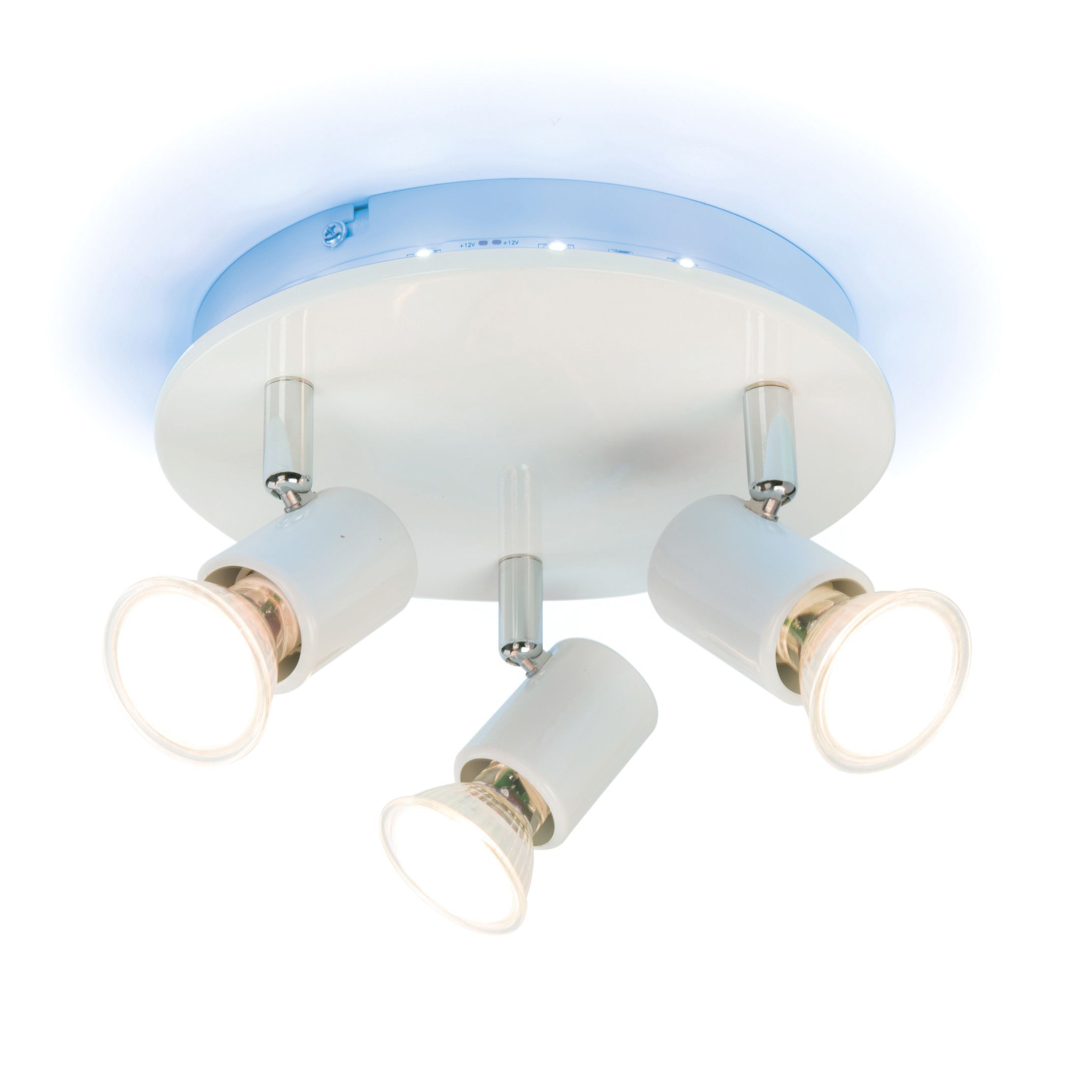 Bathroom ceiling lights b q - Spectrum Colour Changing White Gloss 3 Lamp Ceiling Light Departments Diy At B Q