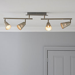 Nascio Foldable Matt Chrome Effect 4 Lamp Ceiling