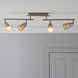 Nascio Foldable Matt Chrome Effect 4 Lamp Ceiling