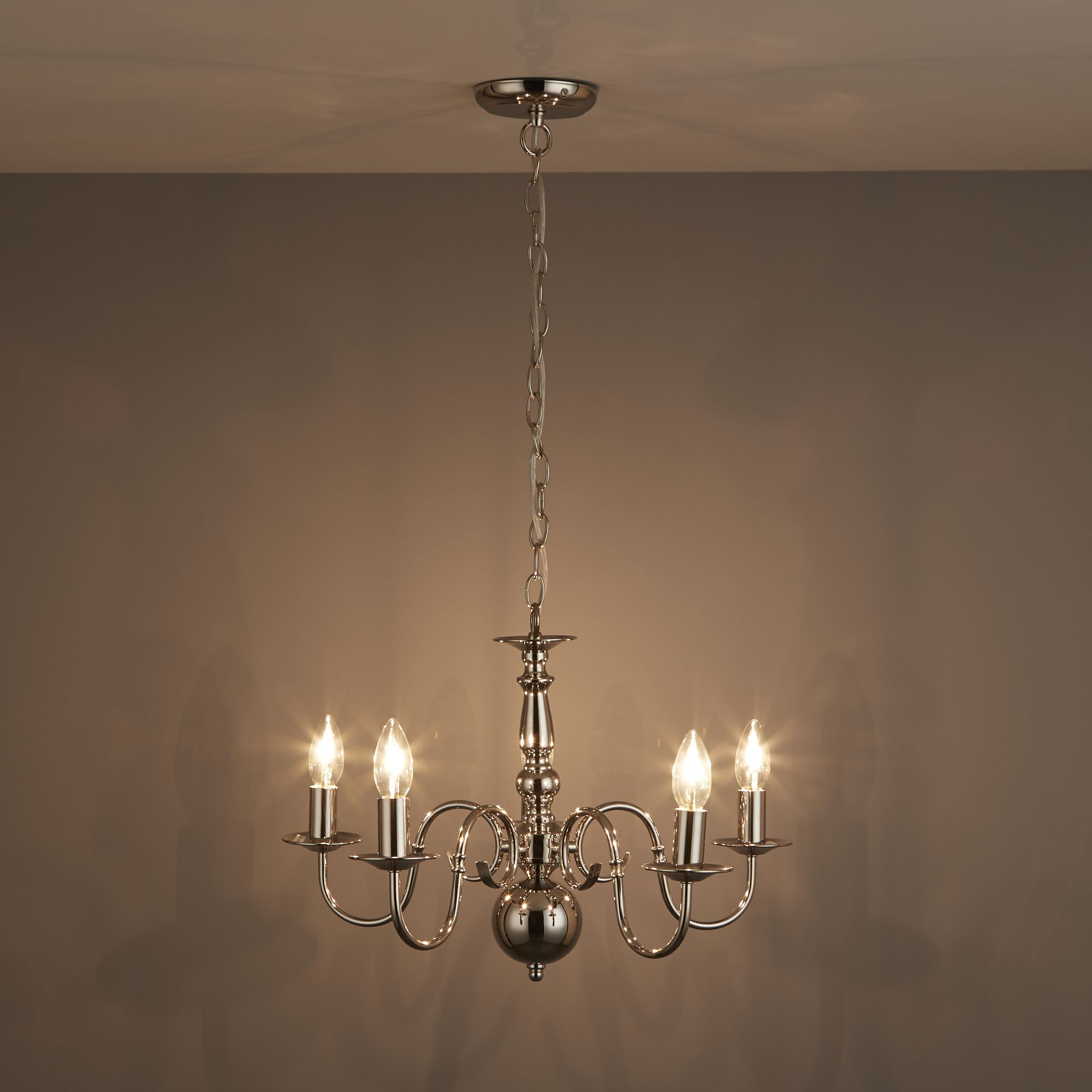 Manning Clear Polished Nickel 5 Lamp Ceiling Light