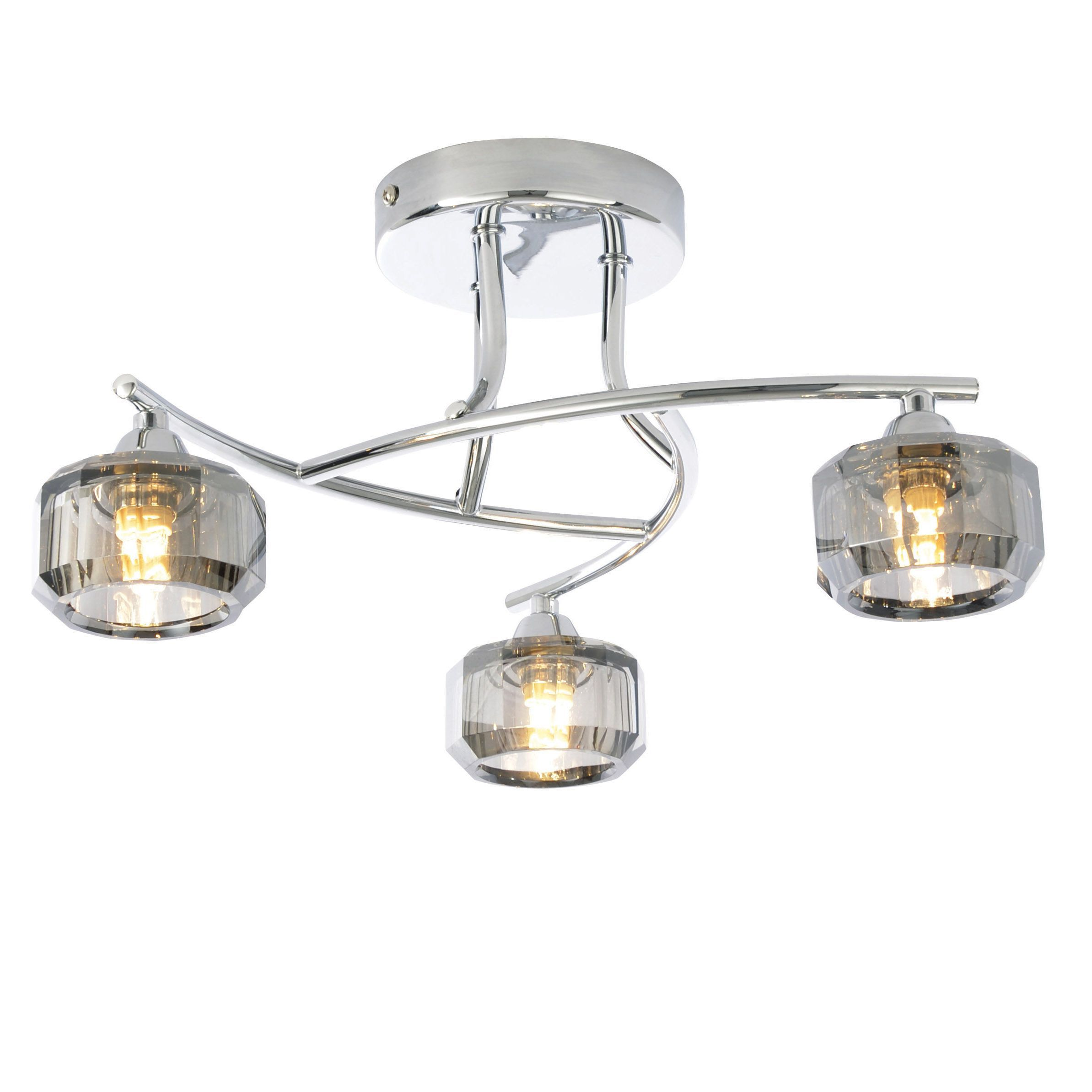 Allyn Clear Chrome Smoked Glass  Lamp Ceiling Light