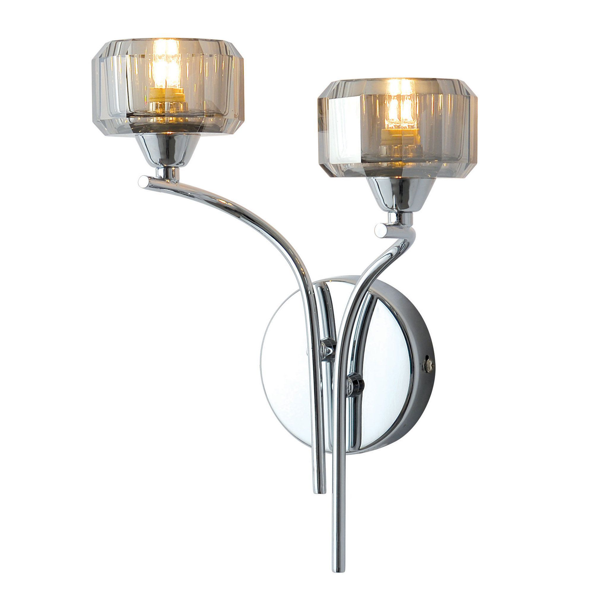 Chrome Torch Wall Lights : Allyn Clear Chrome & Smoked Glass Wall Light Departments DIY at B&Q