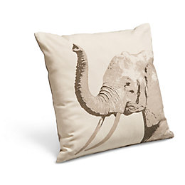 Printed Elephant Beige Cushion