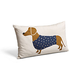 Sausage Dog Navy & White Cushion