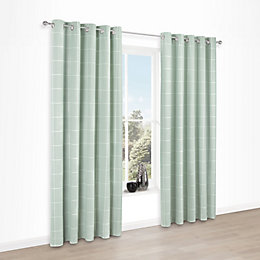 Carrie Mint Check Jacquard Eyelet Lined Curtains (W)117cm