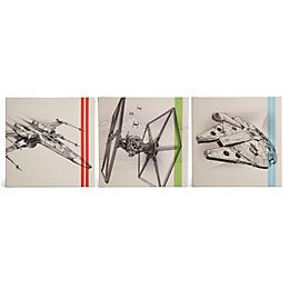 Star Wars Episode VII Beige Canvas Art Set