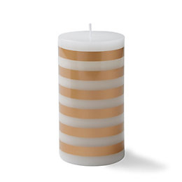 Gold Stripe Unscented Pillar Candle Medium