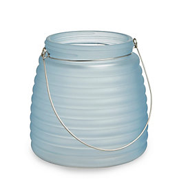 Blue Frosted Ribbed Glass Tealight Holder