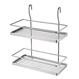 Hastings Silver Chrome Effect Two Tier Wire Shelf