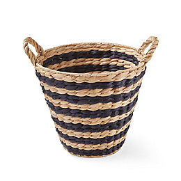 Black & Natural Woven Striped Water Hyacinth Basket