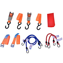 Ratchet Tie Down & Bungee Set, Pack of