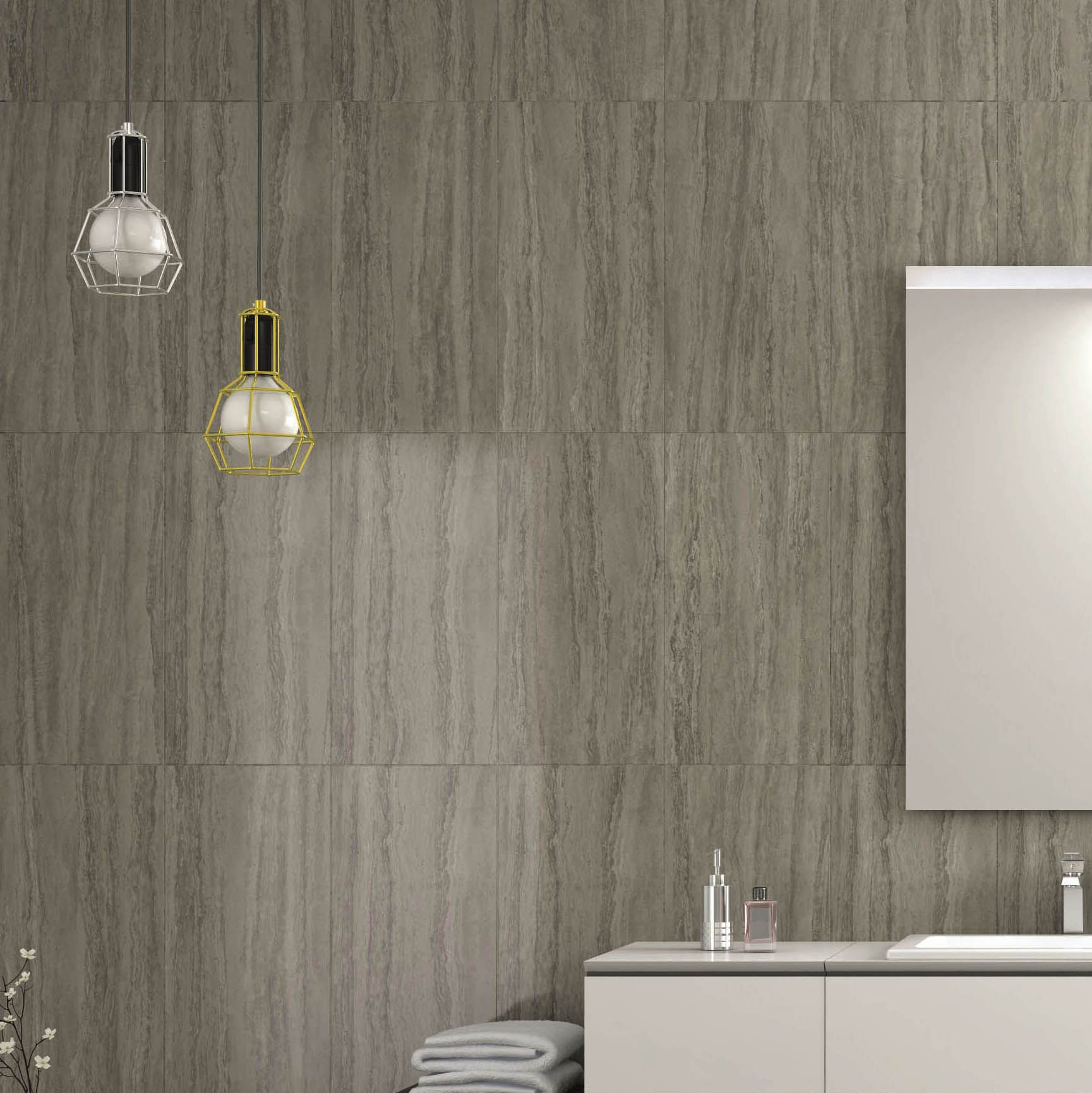 B And Q Red Bathroom Tiles : Anatolia mink stone effect plain porcelain wall floor
