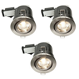 Diall Fire Rated Brushed Chrome Effect LED Tilt