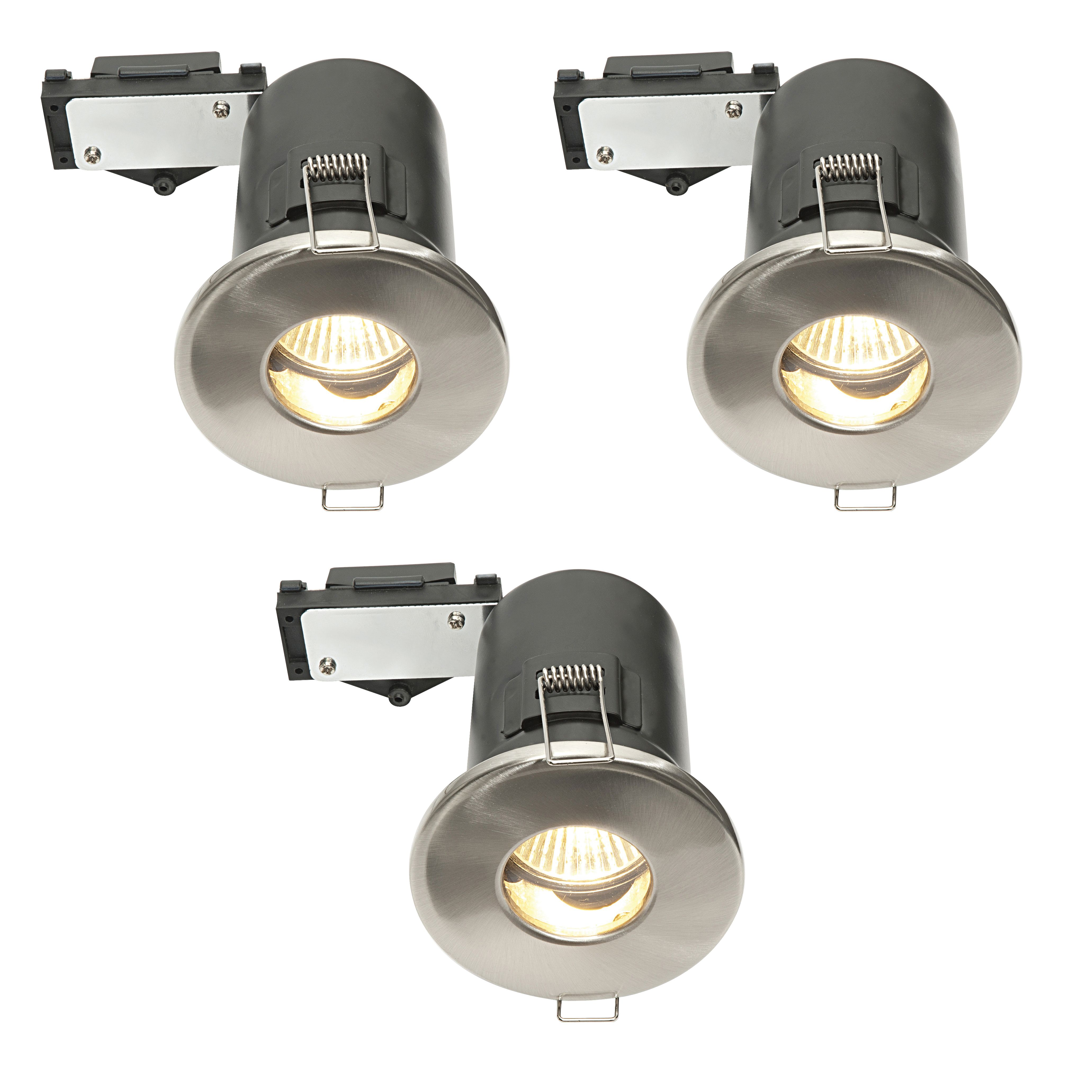 Exterior Garage Downlights: Diall Brushed Chrome Effect LED Fixed Downlight 3.5 W Ip65