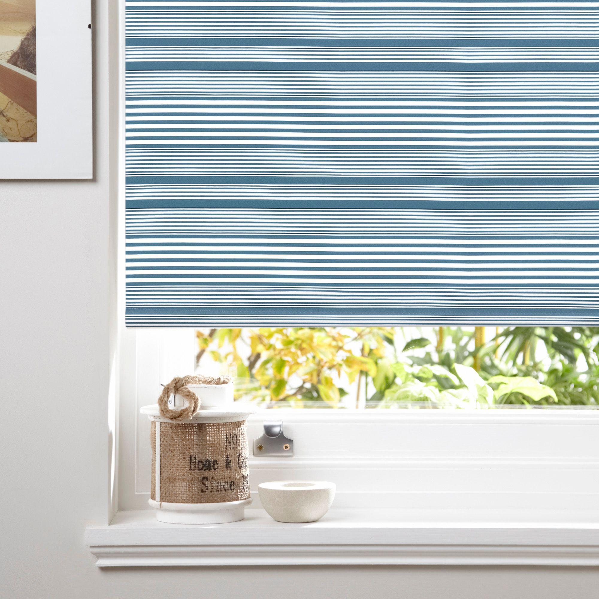 Bathroom Window Blinds B&Q colours benedita corded blue blackout roller blind (l)160 cm (w