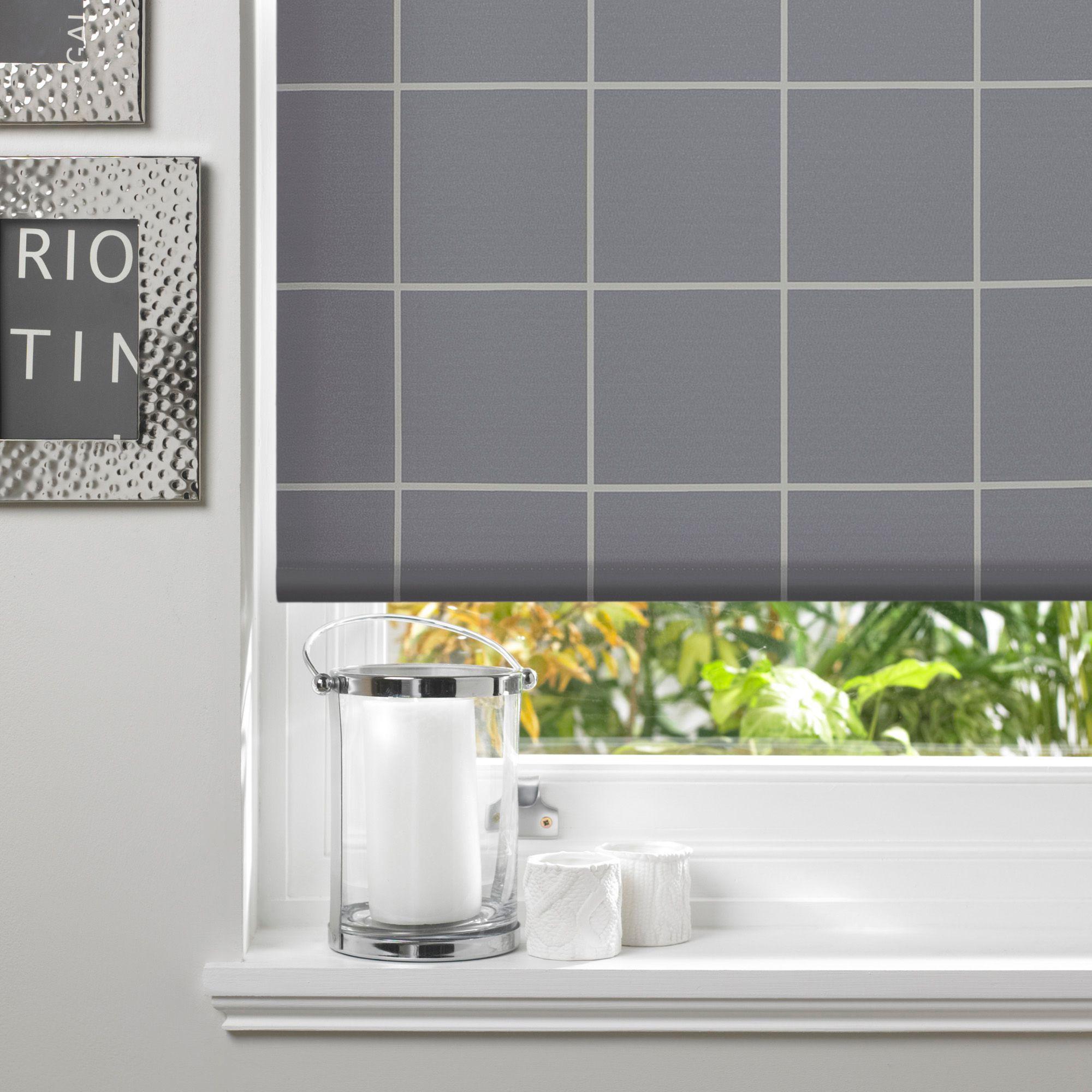 Colours Aylin Corded Grey Roller Blind (l)160 Cm (w)120 Cm