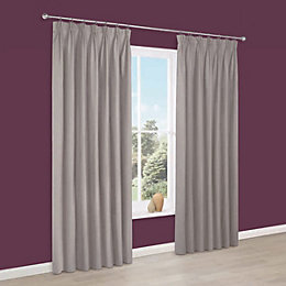 Prestige Limestone Plain Pencil Pleat Lined Curtains (W)117cm