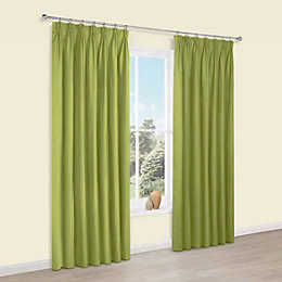 Prestige Chlorophyll Plain Pencil Pleat Lined Curtains (W)117cm