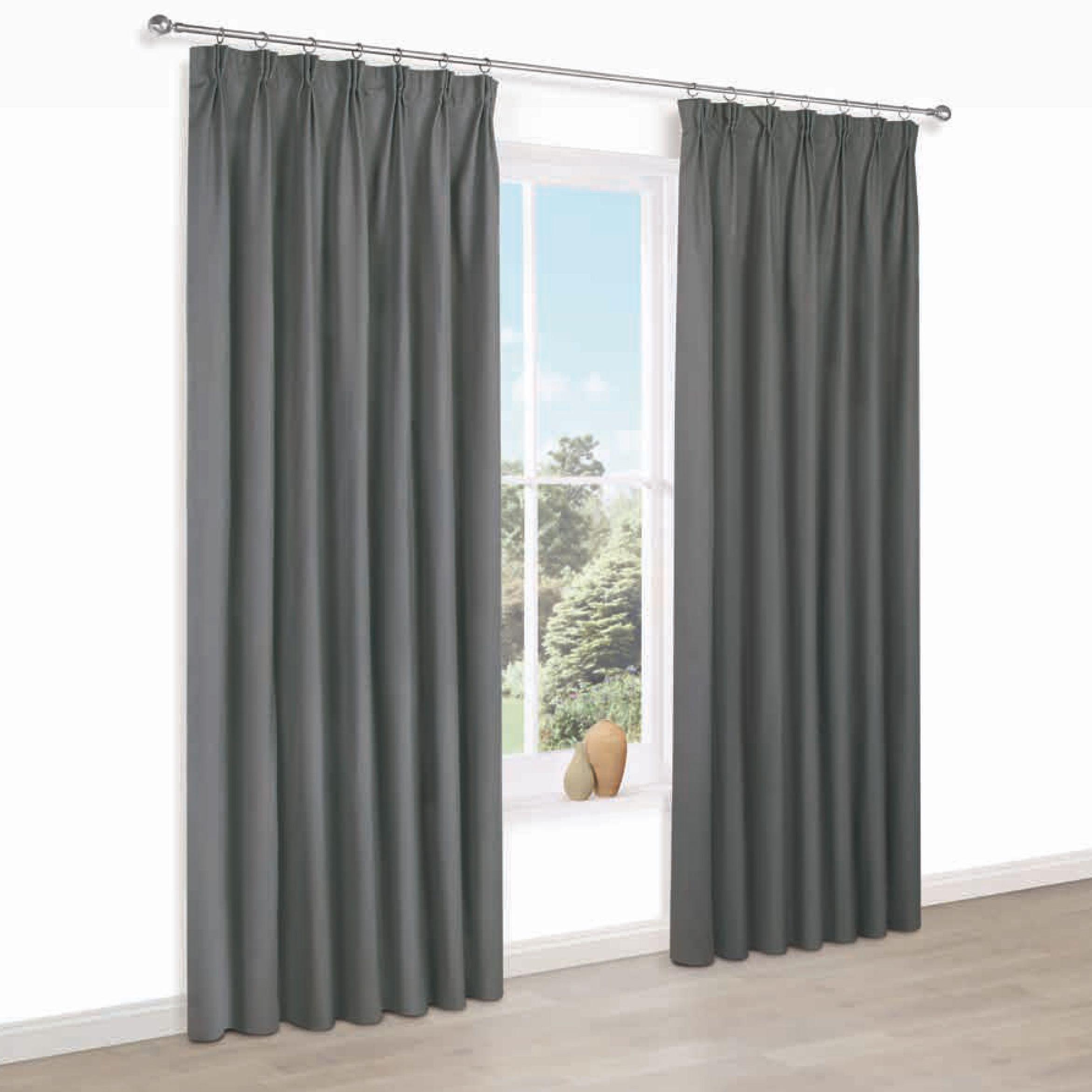 Prestige Anthracite Plain Pencil Pleat Lined Curtains (w)117 Cm (l)137 Cm