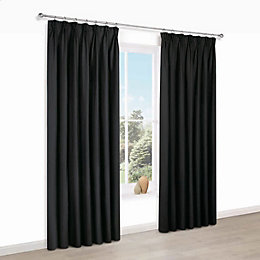Prestige Black Plain Pencil Pleat Lined Curtains (W)167