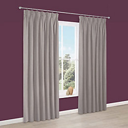 Prestige Limestone Plain Pencil Pleat Lined Curtains (W)167cm