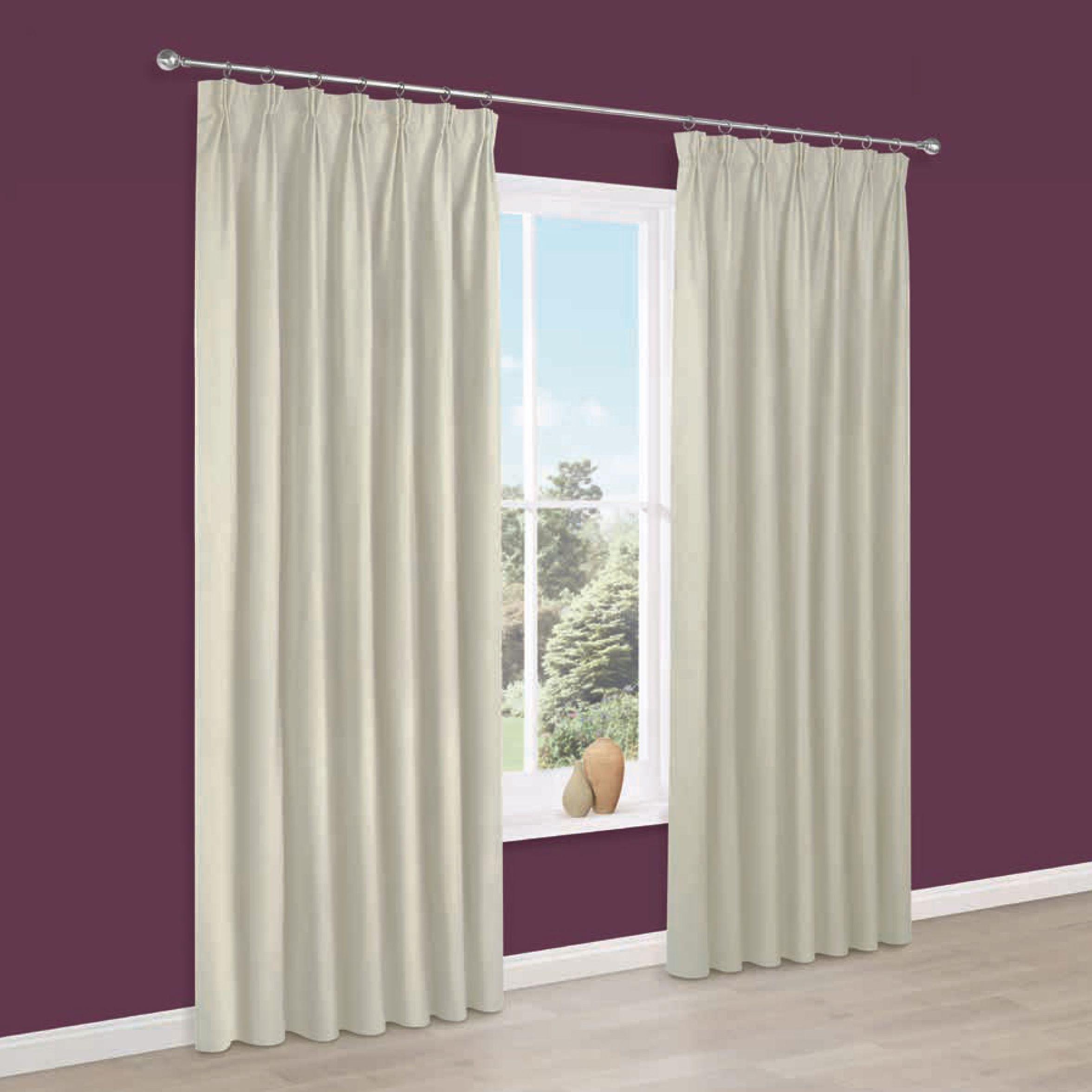 Prestige Cream Plain Pencil Pleat Lined Curtains (w)228 Cm (l)228 Cm