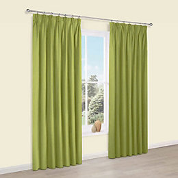 Prestige Chlorophyll Plain Pencil Pleat Lined Curtains (W)167
