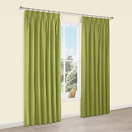 Prestige Chlorophyll Plain Pencil Pleat Lined Curtains (W)228cm