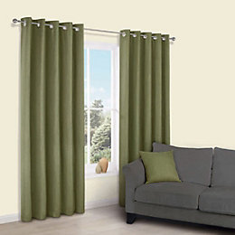 Candra Green Herringbone Jacquard Eyelet Lined Curtains (W)228cm