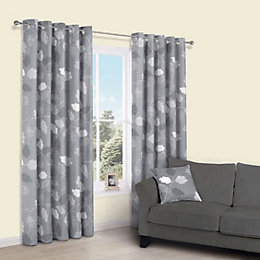 Centola Grey Leaves Print Eyelet Lined Curtains (W)117cm