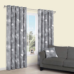 Centola Grey Leaves Print Eyelet Lined Curtains (W)228cm