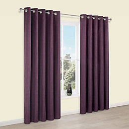 Durene Purple Plain Blackout Eyelet Blackout Curtains (W)117