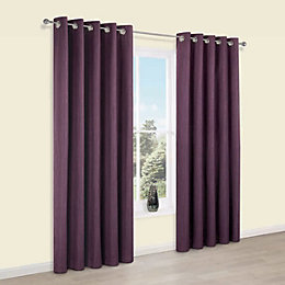Durene Purple Plain Blackout Eyelet Curtains (W)167cm (L)183cm
