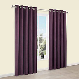Durene Purple Plain Blackout Eyelet Blackout Curtains (W)167