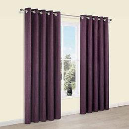 Durene Purple Plain Blackout Eyelet Curtains (W)228cm (L)228cm