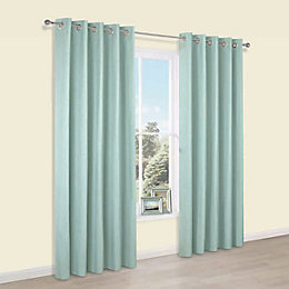 Durene Duck Egg Plain Blackout Eyelet Blackout Curtains