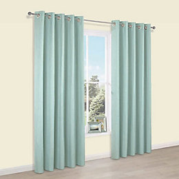 Durene Duck Egg Plain Blackout Eyelet Curtains (W)228cm