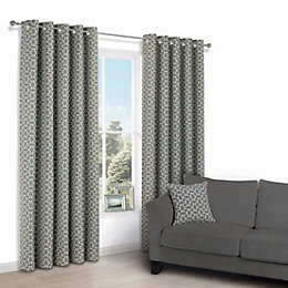 Edeva Grey Diamond Jacquard Eyelet Lined Curtains (W)167cm