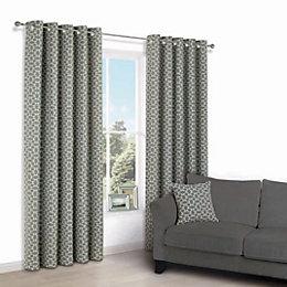 Edeva Grey Diamond Jacquard Eyelet Lined Curtains (W)228cm
