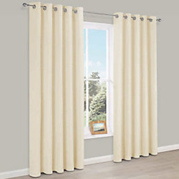 Carem Cream Plain Chenille Eyelet Lined Curtains (W)167