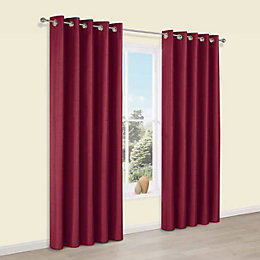 Edlyn Red Plain Faux Silk Eyelet Blackout Curtains