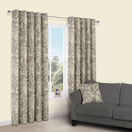 Charde Brown Meadow Print Eyelet Lined Curtains (W)167cm