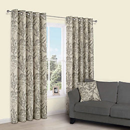 Charde Brown Meadow Print Eyelet Lined Curtains (W)228cm