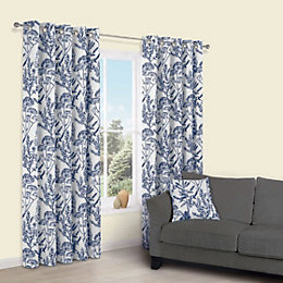 Charde Blue Meadow Print Eyelet Lined Curtains (W)228cm