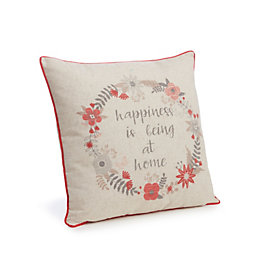 Clarinda Happiness Is Being At Home' Cream Cushion