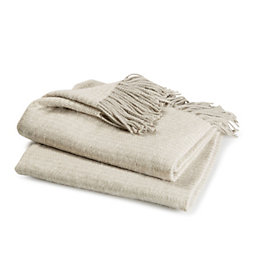 Corinna Light Grey Plain Woven Throw
