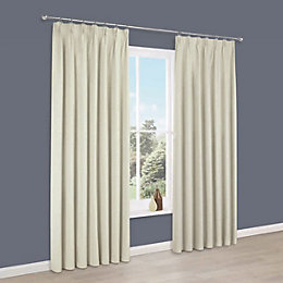 Elva Cream Plain Blackout Pencil Pleat Curtains (W)117cm