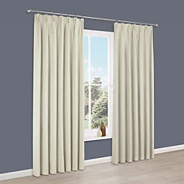 Elva Cream Plain Blackout Pencil Pleat Curtains (W)167cm