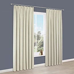 Elva Cream Plain Blackout Pencil Pleat Curtains (W)228cm